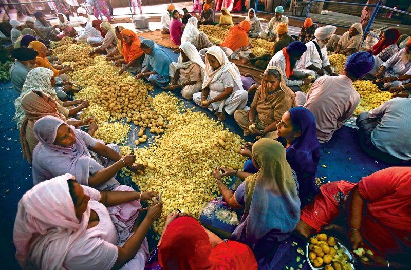 Trabajo voluntario preparar langar en Amritsar